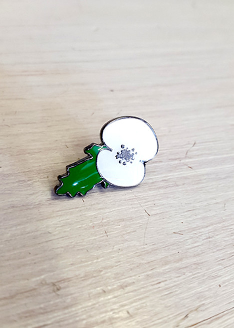 White Peace poppy single enamel badge