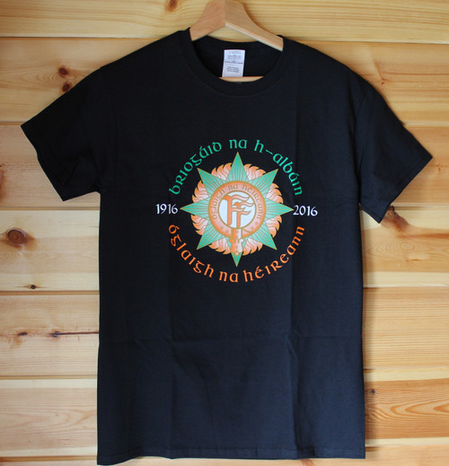 Briogaid na h-Albain OnahE Easter Rising t-shirt  Five colour hand screen printed black t shirt