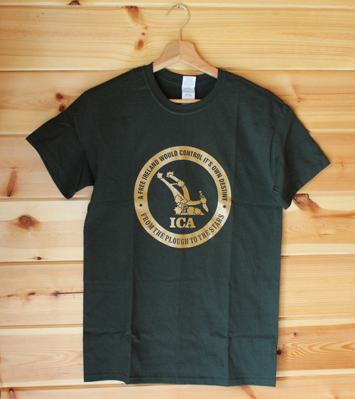 Irish Citizen Army (ICA) one colour gold hand screen printed bottle green t-shirt