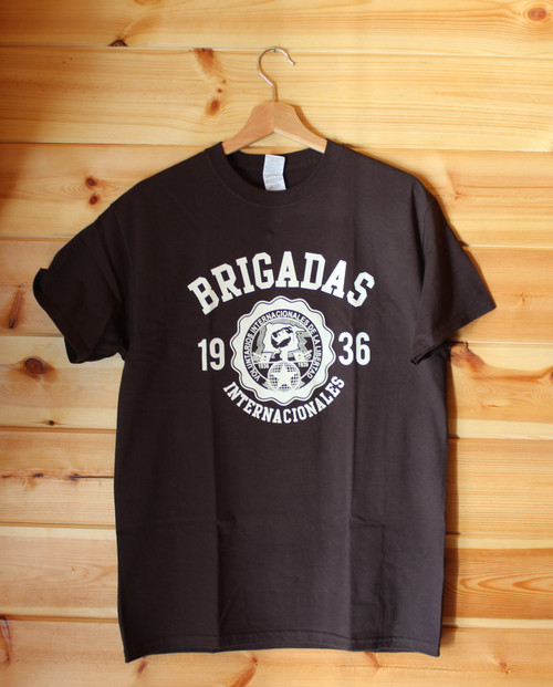 Brigadas internacionales 1936 one colour hand screen printed brown t-shirt.