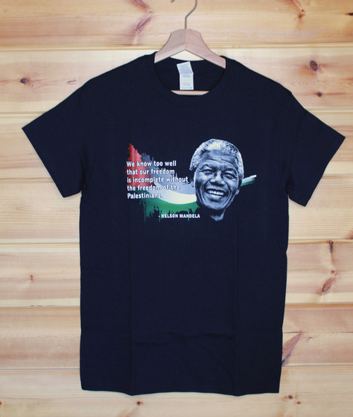 Nelson Mandela/Palestine four colour hand screen printed black t-shirt