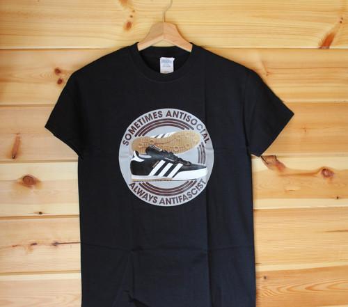 Sometimes Antisocial Always Antifascist (Samba) six colour hand screen printed black t-shirt