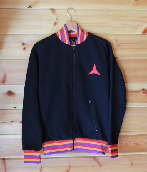 !NO PASARAN! Retro 70's black jacket with collar, wasteland and cuffs with the colours of the Spanish Republic.
