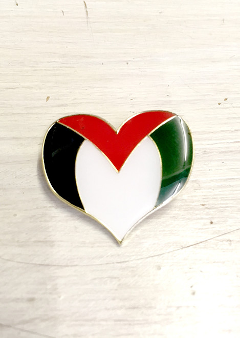 Palestine Heart Enamel Badge