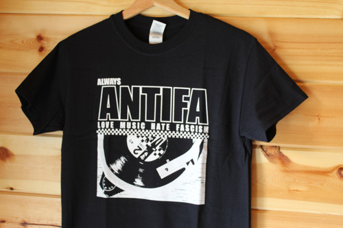 Always ANTIFA 2 Tone Love Music Hate Fascism t-shirt