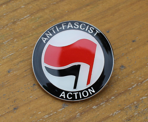 ANTI FASCIST ACTION Red/Black enamel badge