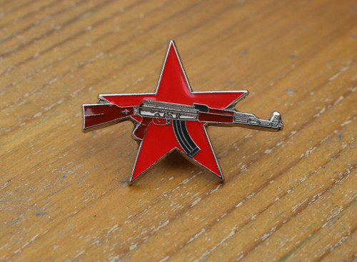 Red star resistance enamel badge