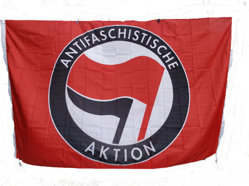 Giant 8 feet x 5 feet RED ANTIFA flag