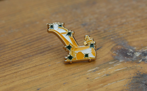 Starry Plough cut out enamel badge with butterfly clasp