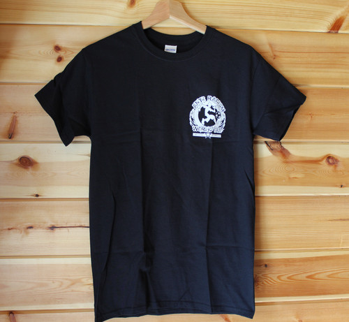 Belfast Anti-Racism World Cup one colour back and front hand screen printed black T-shirt