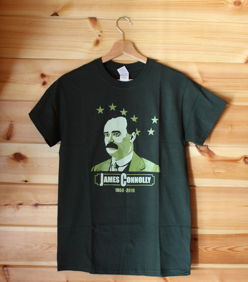 James Connolly anniversary bottle green t-shirt.  This is a two colour hand screen printed t-shirt.