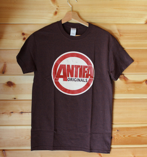 Antifa Originals - Antifascist T-shirt with a two colour screen print on a russet colour shirt
