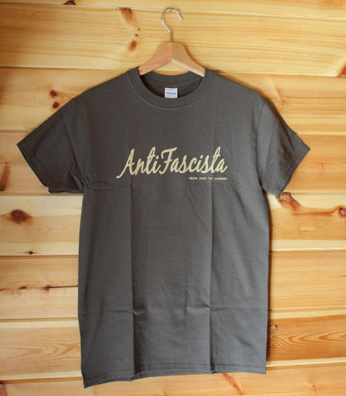 Antifascista From Past to Present Olive green t-shirt with a one colour hand screen print