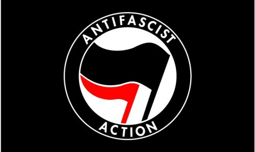 Anti Fascist Action black flag
