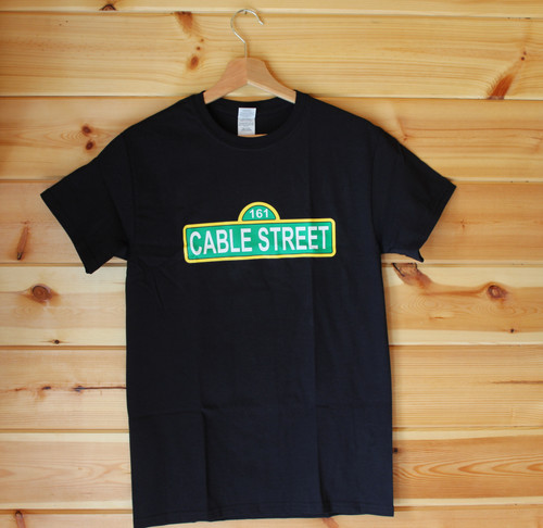 CABLE STREET 161 ANTIFA THREE COLOUR HAND SCREEN PRINTED BLACK T-SHIRT