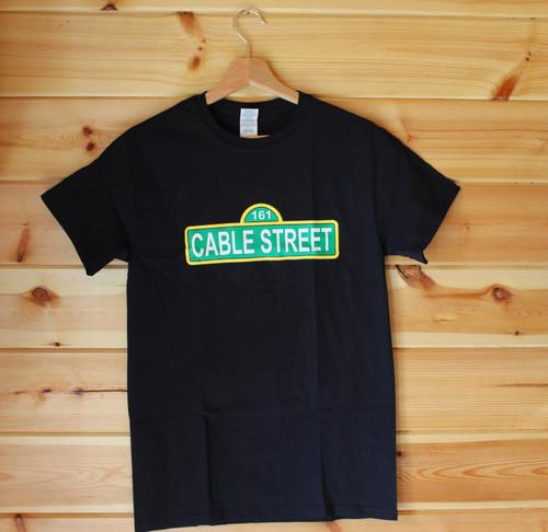 CABLE STREET 161 ANTIFA THREE COLOUR HAND SCREEN PRINTED BLACK T-SHIRT