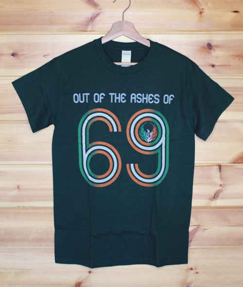 Out of the Ashes of 69 (Phoenix) three colour hand screen printed bottle green t-shirt