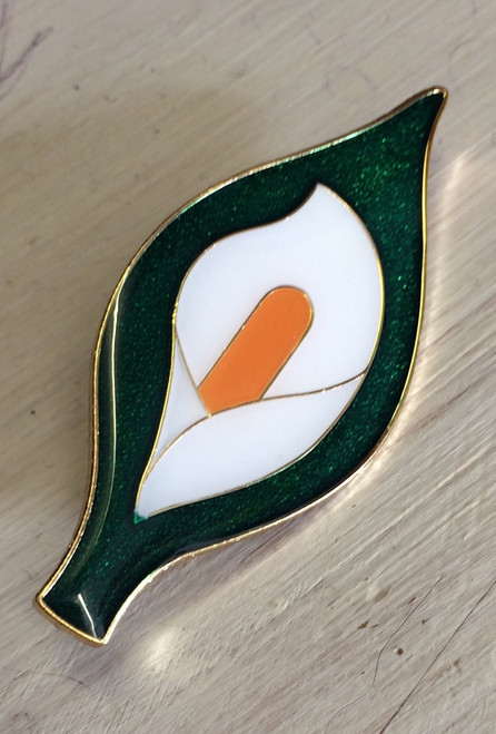 Easter Lily 60 mm giant enamel badge with brooch fixing.