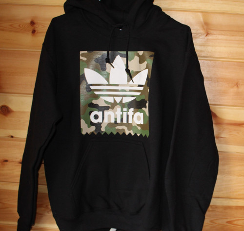ANTIFA Camo black hoody hand screen printed