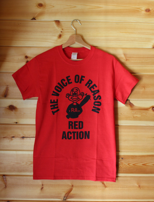 The Voice of Reason - Red Action one colour hand screen printed red t-shirt