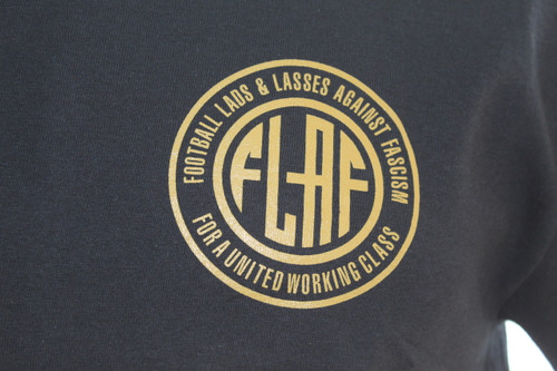 Football Lads & Lasses Against Fascism black t-shirt with FLAF logo left breast screen print.