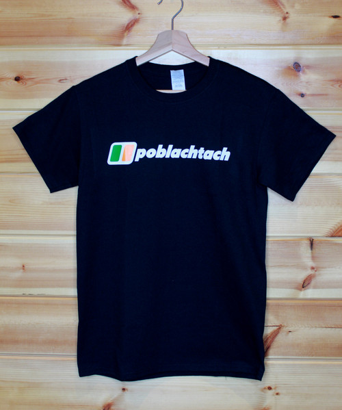 Poblachtach three colour hand screen printed berghaus style black t-shirt