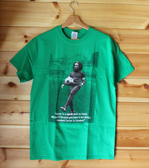 A three colour hand screen printed kelly green Gildan t-shirt with the image of Bob Marley