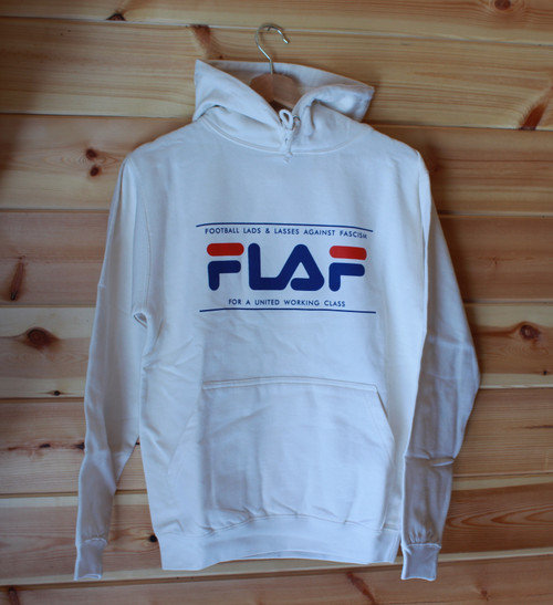 FLAF Fila style antifascist two colour hand screen printed cream hoody
