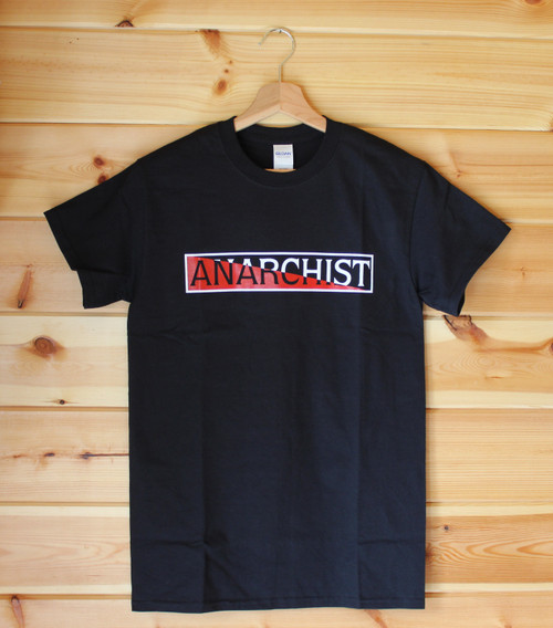 Hand screen printed two colour ANARCHIST black t-shirt