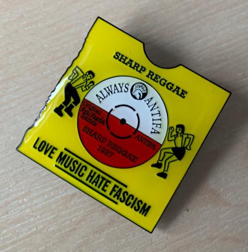 Love Music Hate Fascism enamel badge