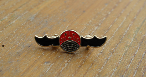 Reproduction of a historical IWW Sabot enamel badge with brooch