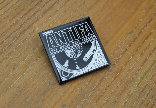 2 tone ALWAYS ANTIFA Love Music Hate Fascism enamel badge