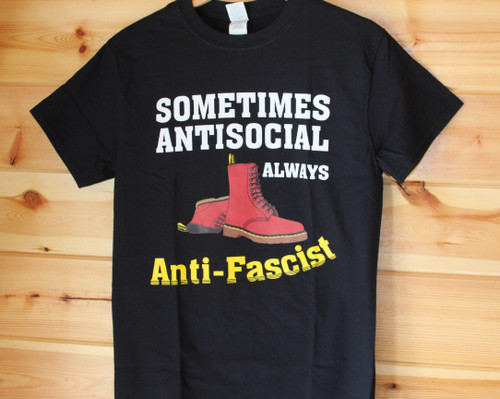 Doc Marten sometimes anti-social always anti-fascist black t-shirt