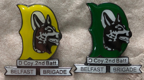 Official D Company, 2nd Battalion enamel badges with brooch fixing.