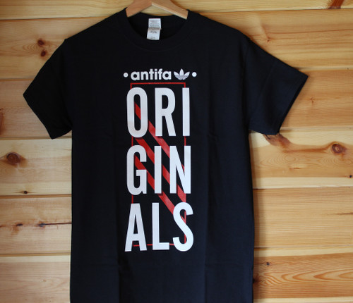 ANTIFA ORIGINALS 2 colour hand screen printed black tshirt