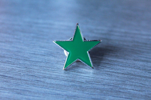 Green ecology star enamel badge