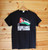Resistance is Not Terrorism Palestine solidarity four colour hand screen printed black t-shirt