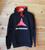 NO PASARAN red line hood two colour hand screen printed black hoody