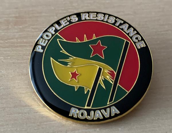 PEOPLE'S RESISTANCE ROJAVA enamel badge]  All profit to Heyva Sor a Kurdistane
