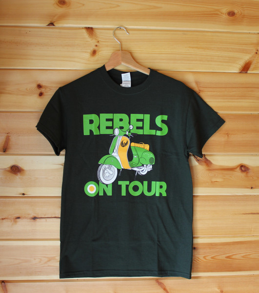 REBELS ON TOUR forest green six colour hand screen printed t-shirt