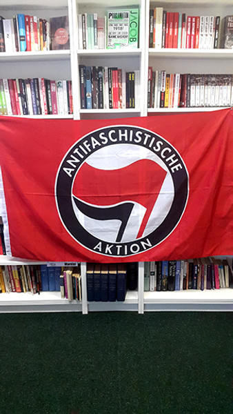 Red ANTIFA flag size 5 feet x 3 feet