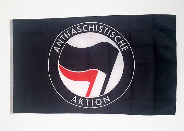 Black ANTIFA flag size 5 feet x 3 feet