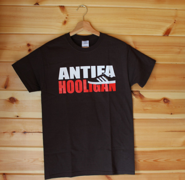 Antifa Hooligan three colour hand screen printed brown t-shirt