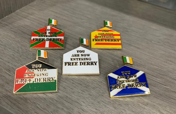 Free Derry Solidarity enamel badges x 5