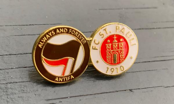 St. Pauli Always and forever ANTIFA enamel badge