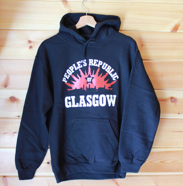 People's Republic of Glasgow two colour hand screen printed black hoody
