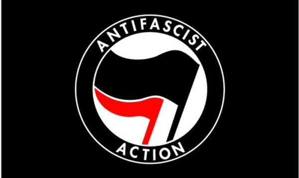 Anti Fascist Action black flag  size 8 feet x 5 feet