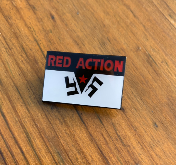 Red Action Beating the Fascists enamel badge