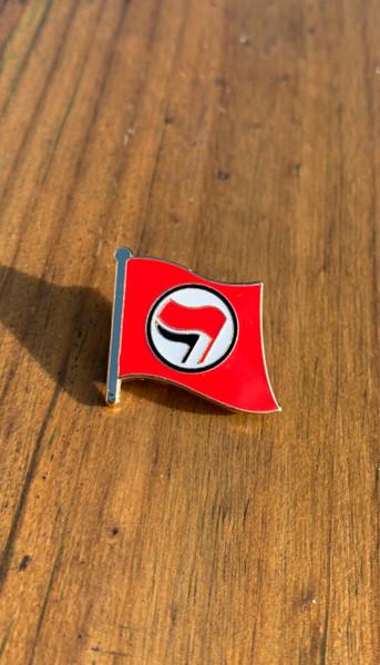 Anti-Fascist Flag red enamel badge size 25 mm