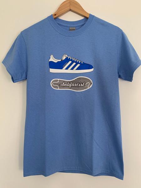 Carolina Blue Gazelle blue/white AntiFascist t-shirt